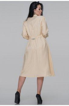 Бежевое стильное платье рубашка