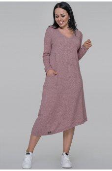 Повседневное платье трапеция фрезового цвета