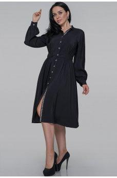 Черное утонченное платье-рубашка