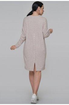 Бежевое удобное свободное платье