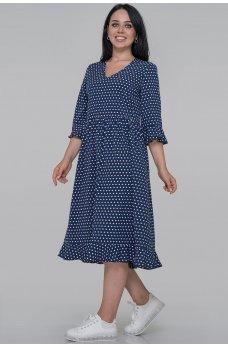 Синее универсальное  платье миди в горох
