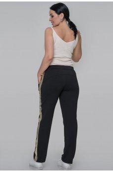Черные спортивные брюки с золотистой вставкой