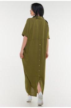 Летнее платье рубашка цвета хаки