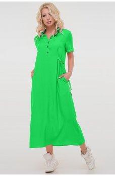 Летнее платье рубашка светло-зеленый цвета