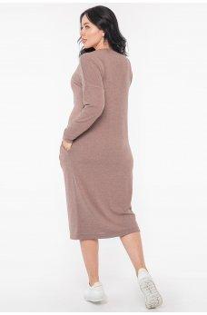 Женское ангоровое платье миди цвета капучино