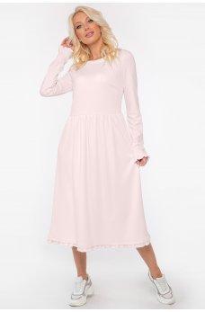 Бледно-розовое универсальное платье миди