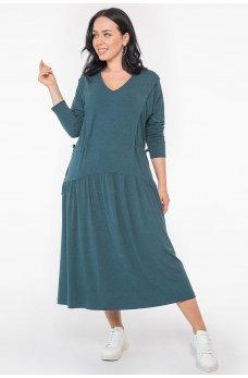 Зеленое трендовое женское платье миди