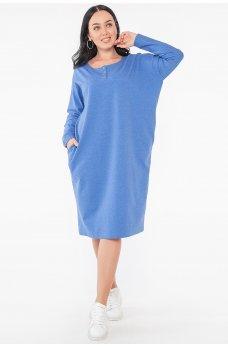 Женственное свободное платье цвета электрик