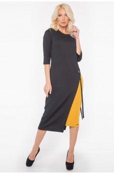 Черное оригинальное платье миди с яркой горчичной вставкой