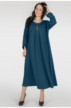 Стильное платье оверсайз цвета морской волны