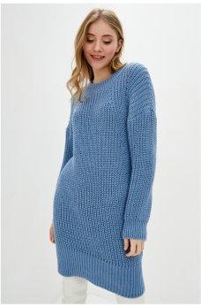 Вязаное голубое платье-туника