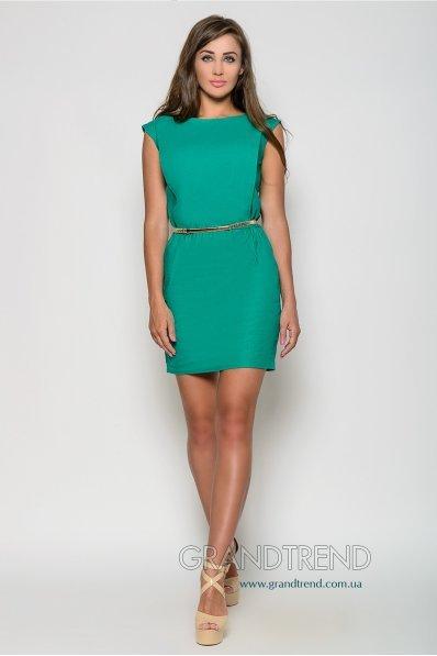 Яркое зеленое платье лен с поясом