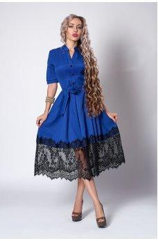 Платье цвета электрик с кружевным подолом