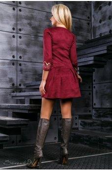 Замшевое платье цвета марсала с пышной юбкой