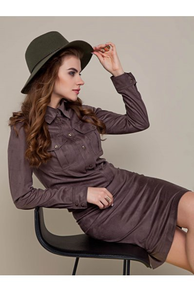 Замшевое платье рубашка цвета капучино