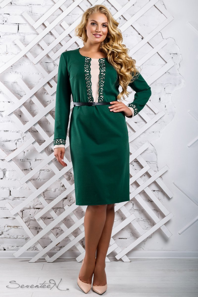 279950570ca Зеленое платье с перфорацией и бежевой вставкой