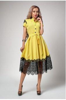 Желтое платье с пышной юбкой