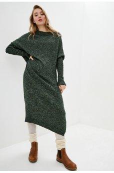 """Зеленое вязаное платье с рукавами """"летучая мышь"""""""